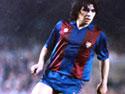 Diego Maradona con la maglia del Barcellona (Foto tratta dal sito ufficiale www.diegomaradona.com)